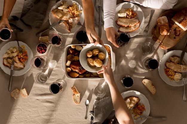 Draufsicht auf köstliches erntedankfest