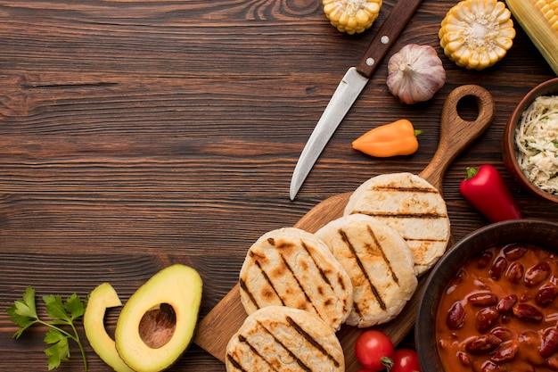 Draufsicht auf köstliches essen
