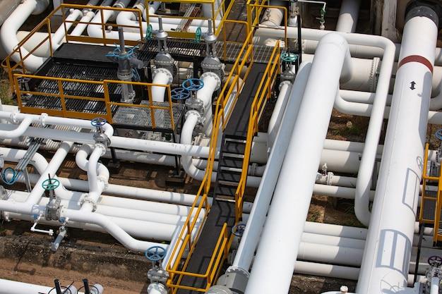 Draufsicht auf lange stahlrohre in der rohölfabrik während der raffinerie petrochemie-industrie in der gasbrennerei