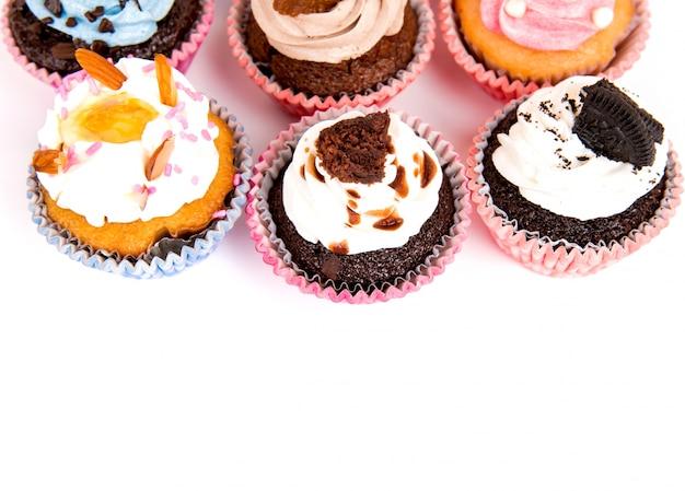 Draufsicht auf leckeren cupcakes