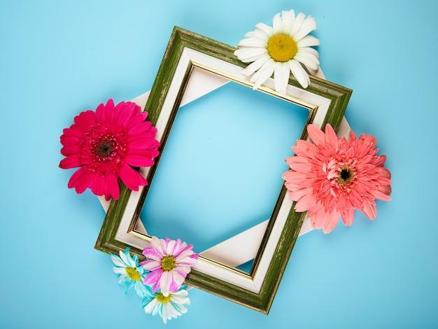 Draufsicht auf leere bilderrahmen mit bunten gerberablumen mit gänseblümchen auf blauem hintergrund