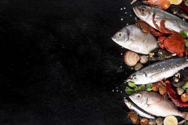 Draufsicht auf sortiment von meeresfrüchten mit kopienraum