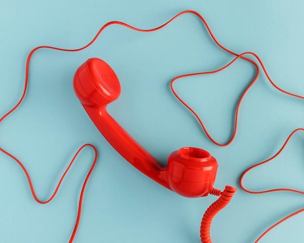 Draufsicht auf telefonhörer
