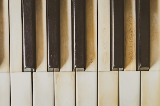 Draufsicht auf vintage-klaviertasten