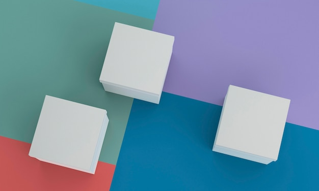 Draufsicht auf weiße pappkartons