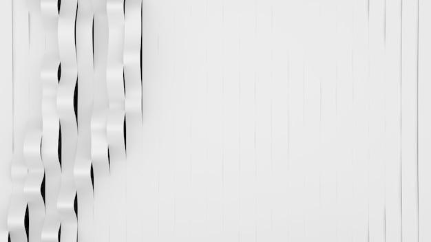 Draufsicht auf weißen streifenwellen. verformte bänder oberfläche mit weichem licht. moderner heller hintergrund
