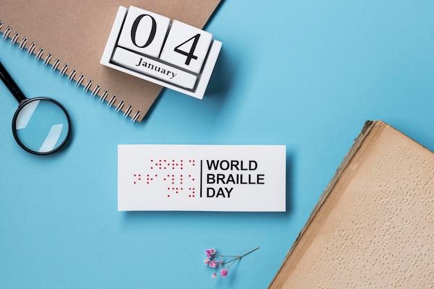 Draufsicht auf welt-braille-tagesanordnung
