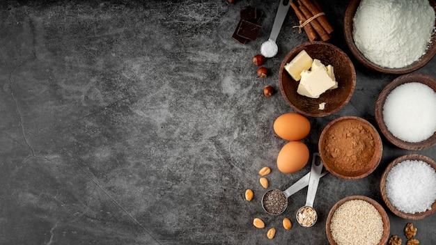 Draufsicht auswahl an leckerem essen
