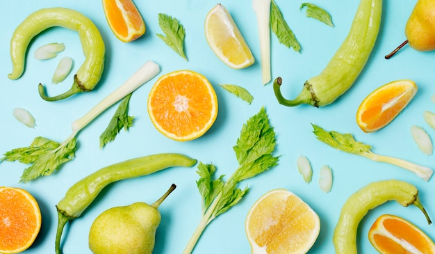 Draufsicht bio-obst und gemüse