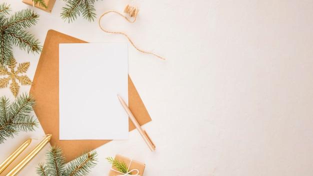 Draufsicht briefpapier leere papiere kopieren platz