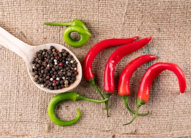 Draufsicht chili pfeffer mit gewürzen auf holzlöffel auf beigem leinen horizontal
