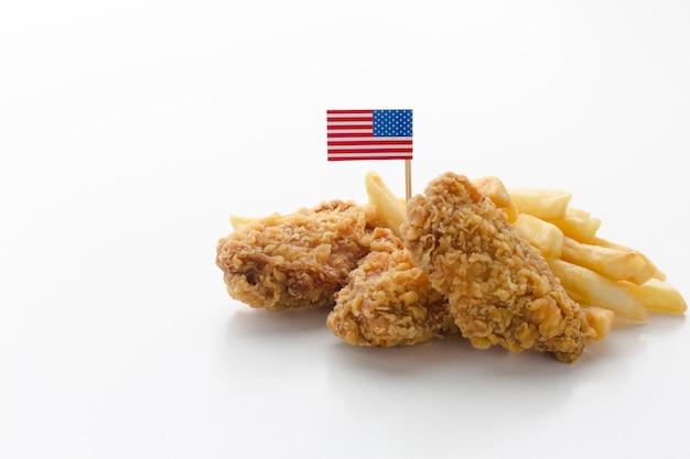 Draufsicht der amerikanischen essensanordnung