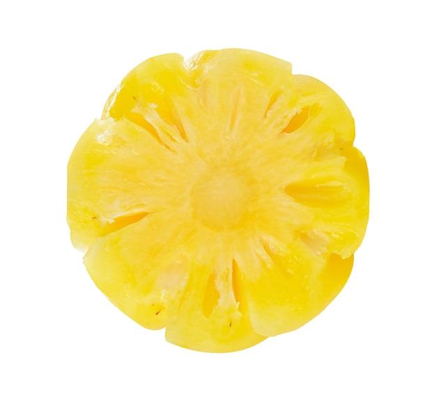 Draufsicht der ananasscheibe lokalisiert auf weiß