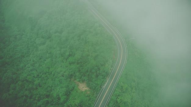 Draufsicht der antenne der himmelstraße über spitze des berges mit nebel und grünem dschungel