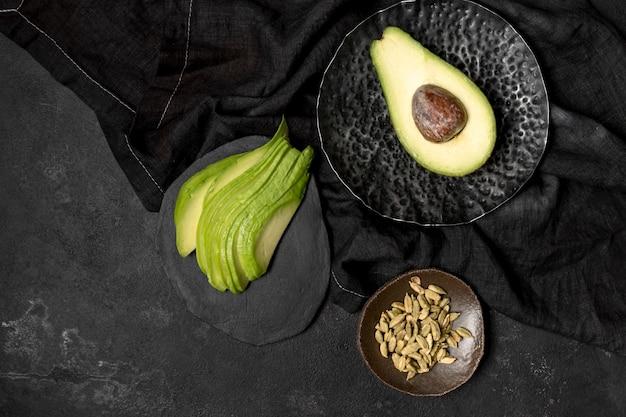 Draufsicht der avocado-konzeptanordnung