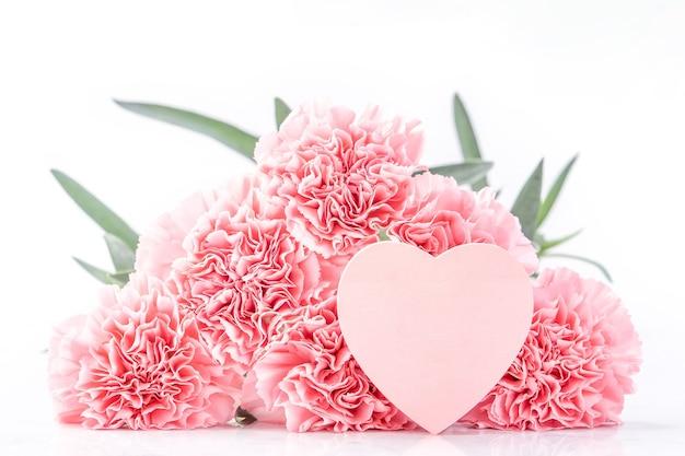 Draufsicht der eleganz, die die zarten nelken der süßen rosa farbe blüht, die auf hellem weißem hintergrund mit karte lokalisiert werden, möge muttertagsmuttergruß-entwurfskonzept, nahaufnahme, kopienraum