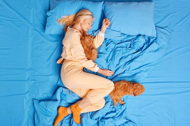 Draufsicht der entspannten schlafenden frau hat gesundes nickerchen im bett posiert mit zwei welpen, die in nachtwäsche gekleidet sind, genießt komfort auf weicher bettwäsche sieht süße träume. freundschaft zwischen menschen und tieren