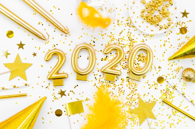 Draufsicht der feier 2020 des neuen jahres