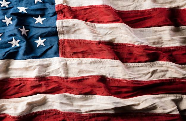 Draufsicht der flagge der vereinigten staaten von amerika