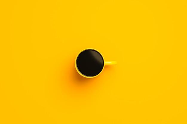 Draufsicht der gelben kaffeetasse oder des leeren bechers für getränk auf lebendigem farbhintergrund