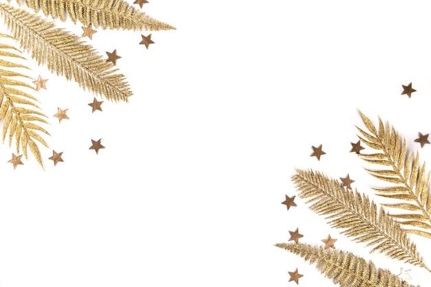 Draufsicht der goldenen zweige mit sternen