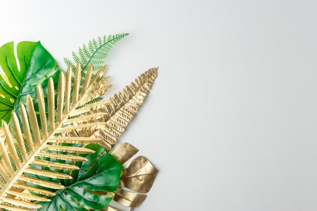 Draufsicht der grünen und goldenen tropischen palmblätter auf weißem hintergrund
