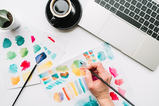 Draufsicht der handmalerei