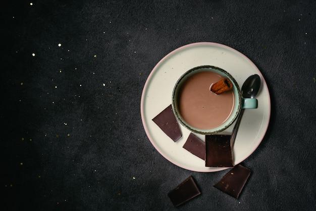 Draufsicht der heißen schokolade