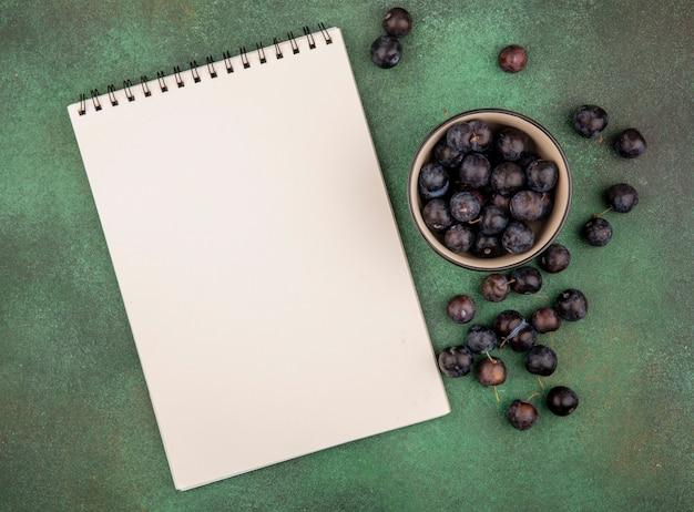 Draufsicht der kleinen sauren blau-schwarzen fruchtschleifen auf einer schüssel auf einem grünen hintergrund mit kopienraum