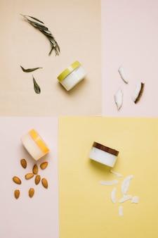Draufsicht der kokosnuss und anderer produkte