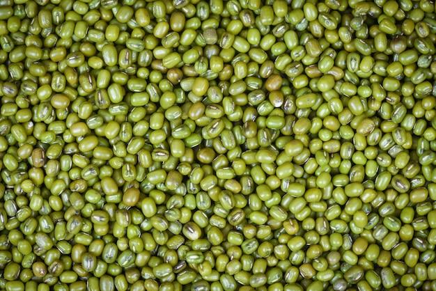 Draufsicht der mungobohnebeschaffenheit der landwirtschaftlichen produkte der grünen bohnen