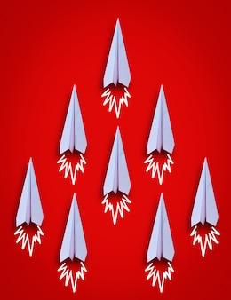 Draufsicht der papierflugzeuggruppe