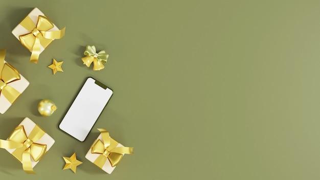 Draufsicht der realistischen geschenkboxen mit golddekorations-3d-darstellung