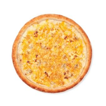 Draufsicht der runden pizza lokalisiert auf weißem hintergrund