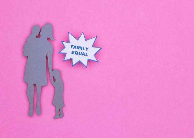 Draufsicht der schönen hausstilllebenfamilie