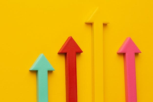 Draufsicht der statistikdarstellung mit pfeil