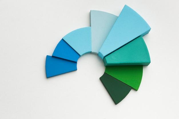 Draufsicht der statistikdarstellung mit tortendiagramm