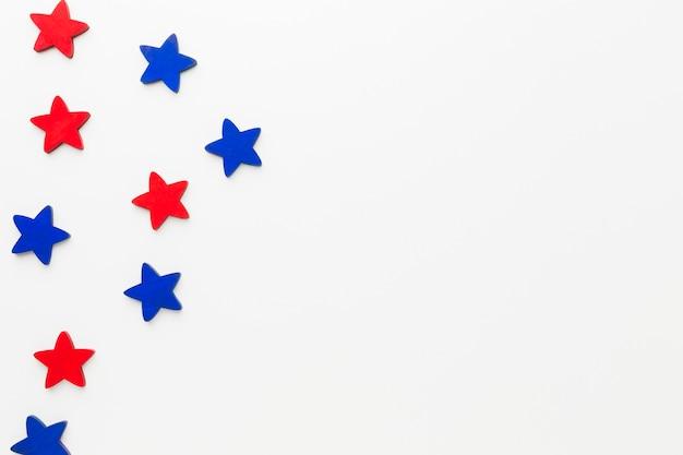 Draufsicht der sterne für unabhängigkeitstag mit kopienraum