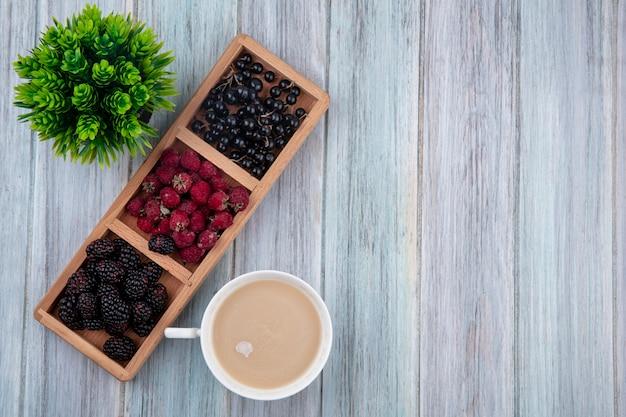 Draufsicht der tasse cappuccino mit himbeeren und brombeeren der schwarzen johannisbeere auf einem ständer auf einer grauen oberfläche
