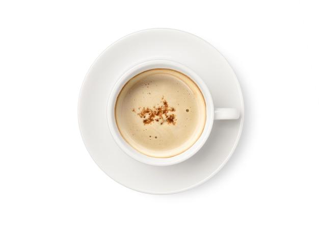 Draufsicht der tasse mit cappuccino