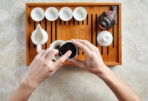 Draufsicht der teezeremonie