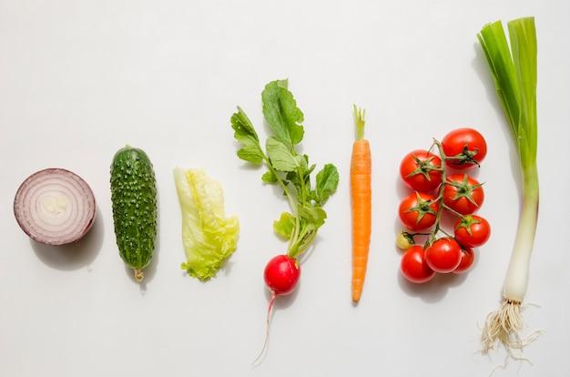Draufsicht der unterschiedlichen art des gemüses