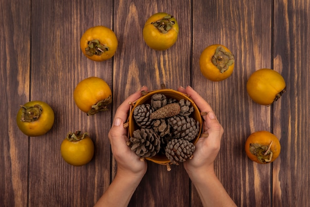 Draufsicht der weiblichen hände, die einen eimer tannenzapfen mit kaki-früchten lokalisiert auf einem holztisch halten