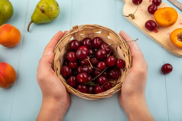 Draufsicht der weiblichen hände, die korb von kirschen und halb geschnittenen aprikosen und kirschen auf schneidebrett mit birnen und messer auf blauem hintergrund halten