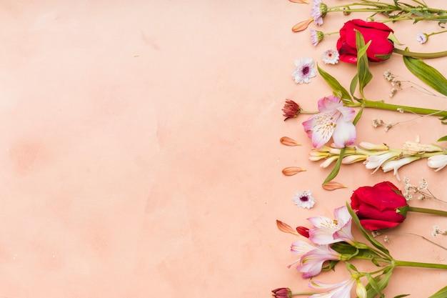 Draufsicht der zusammenstellung der mehrfarbigen frühlingsblumen mit kopienraum