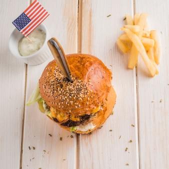 Draufsicht des amerikanischen hamburgers