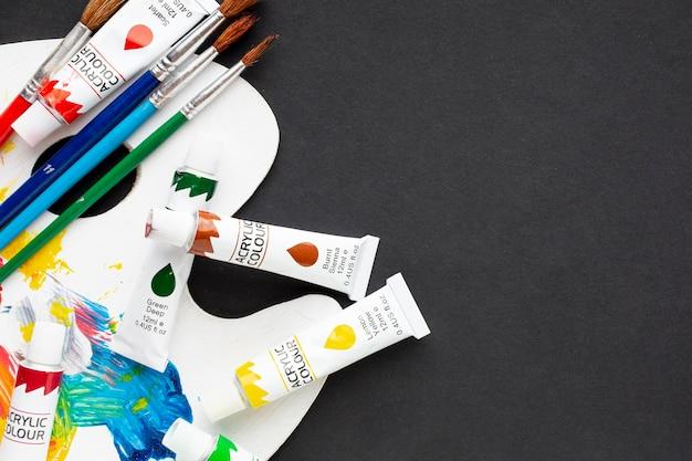 Draufsicht des aquarells mit kopieraum