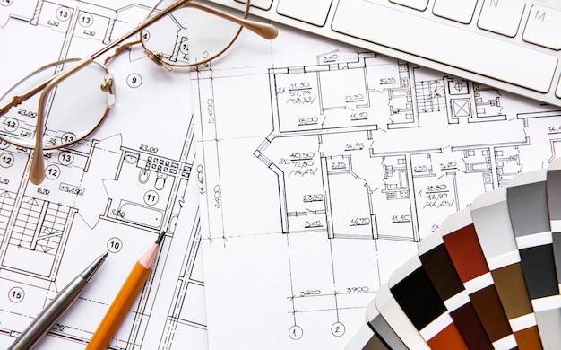 Draufsicht des architektenarbeitsplatzes