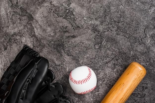 Draufsicht des baseballs mit schläger- und kopienraum