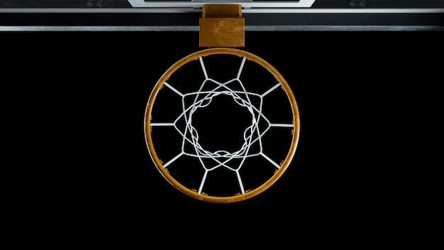 Draufsicht des basketballspiels 3d rendern auf einem schwarzen hintergrund